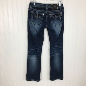 Miss Me bling distressed boot cut blue jeans 27